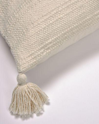 Devi 100% katoenen kussenhoes met witte kwastjes 45 x 45 cm