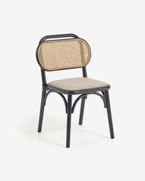 Doriane solid elm chair with black lacquer finish and upholstered seat