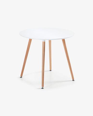 Mesa redonda Wad Ø 100 cm lacado blanco patas de madera maciza de haya