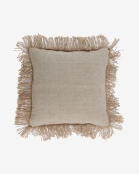 Delcie cotton cushion cover in beige with jute fringe 45 x 45 cm