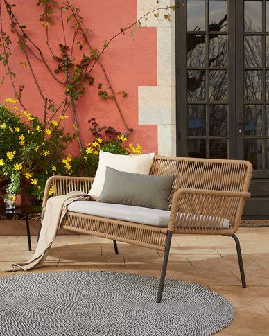 Samanta 2-seater cord sofa in beige 133 cm