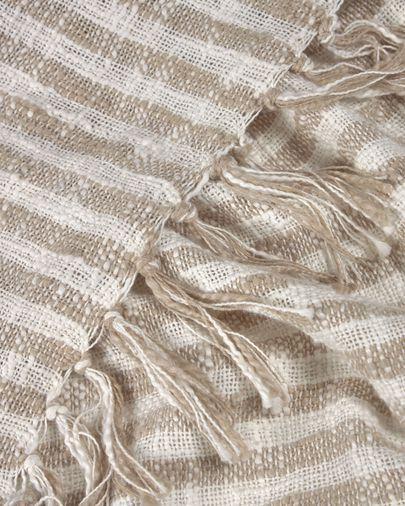 Carola 100% cotton blanket with brown and white stripes 130 x 170 cm