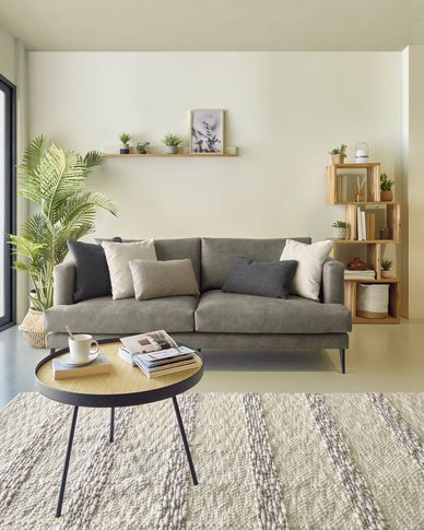 Tanya 2-seater sofa covered in dark grey fabric 183 cm