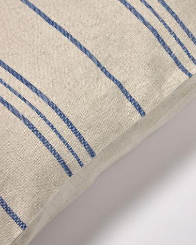 Funda coixí Ziza 100% cotó ratlles fines blau i blanc 45 x 45 cm