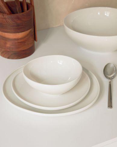Pahi round porcelain dessert plate in white