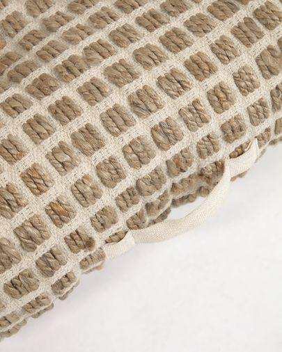 Cojín de suelo y palet Adelma yute y algodón blanco y natural 63 x 63 cm