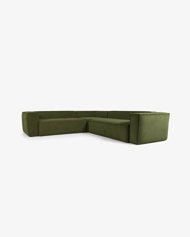 Blok 4-seater corner sofa in green thick corduroy 290 x 290 cm