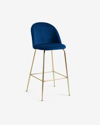 Blue velvet Ivonne stool height 76 cm