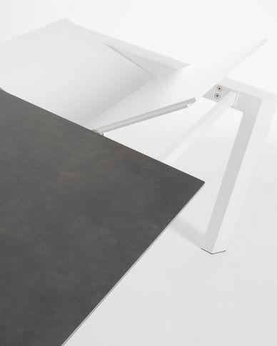 Axis uitschuifbare tafel 120 (180) cm porselein afwerking Vulcano Roca wit benen