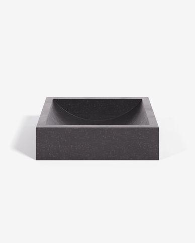Kuveni Aufsatzwaschtisch in schwarzem Terrazzo 40 x 45 cm