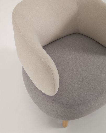 Grey and beige Luisa armchair with solid rubber wood legs