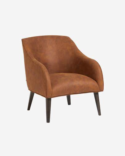Bobly armchair with light brown fabric and wenge finish legs