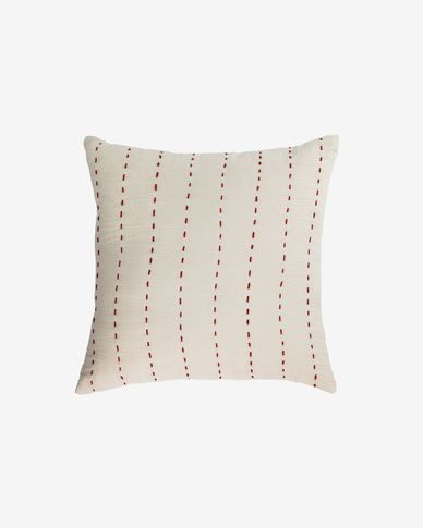 Avidal 100% cotton cushion cover in white with terracotta stripes 45 x 45 cm