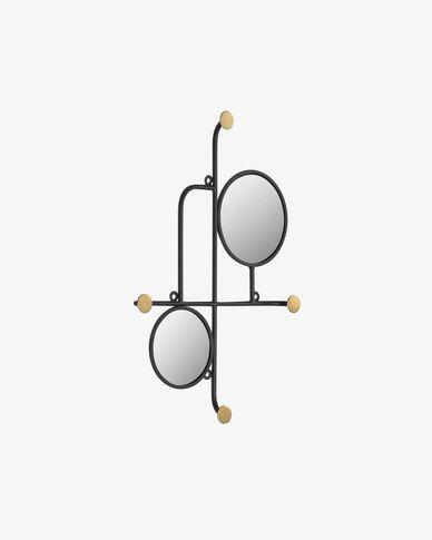Espejo con colgadores Vianela de metal dorado 50 x 35 cm