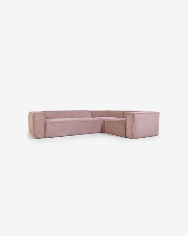 Sofà raconer Blok 4 places pana rosa 320 x 230 cm