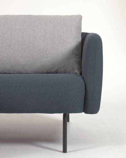 Three-seater blue Walkyria sofa grey cushions and metal legs with black finish 195 cm