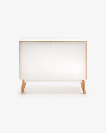 Melan Sideboard 90 x 72 cm mit weißem Lack und massivem Kautschukholz