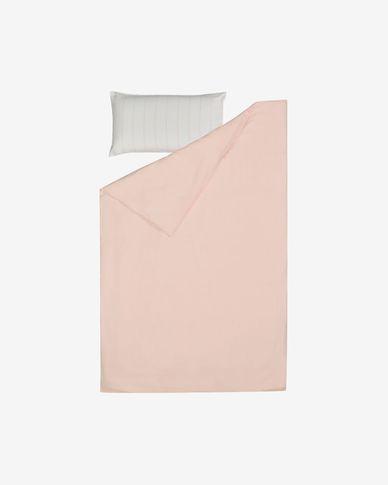 Set Gaitana roze dekbedovertrek, hoeslaken, kussenhoes GOTS katoen & linnen 90 x 190 cm