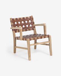 Nuru solid teak and leather armchair