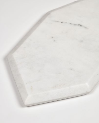 Claria heptagonal serving board in white marble