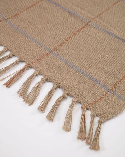 Badia natural rug with garnet and light blue stripes 160 x 230 cm