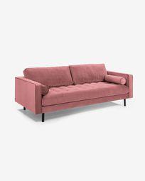 Velvet pink 3-seater Debra sofa 222 cm