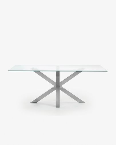 Argo 200 cm glass table with stainless steel legs
