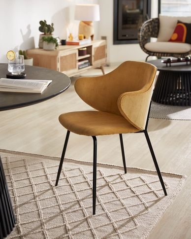 Suanne chair in mustard corduroy with steel legs with black finish