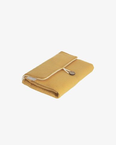 100% organic cotton (GOTS) Jeila travel changing mat in mustard yellow