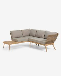 Ramson 3-seater corner sofa in solid eucalyptus wood and beige rope 180 x 180 cm