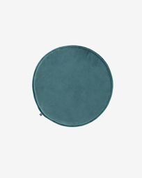Rimca round velvet chair cushion in turquoise, 35 cm