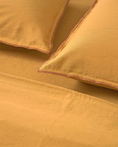 Ibelis mustard yellow bedding set 150 x 190 cm organic cotton (GOTS)