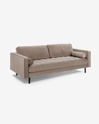 Taupe velvet 3 seaters Debra sofa 222 cm