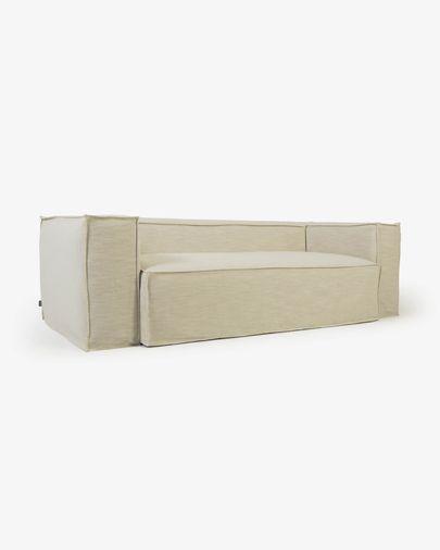 Blok 3-Sitzer Sofa mit abnehmbarem Bezug in Leinen weiß  240 cm