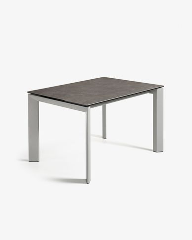 Extendable table Axis 120 (180) cm porcelain Vulcano Ash finish gray legs