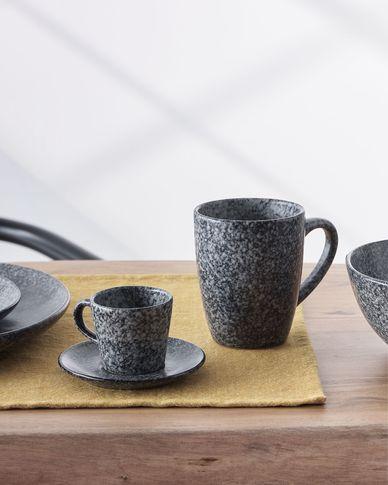 Filiżanka do kawy  z podstawkiem Airena czarna ceramiczna