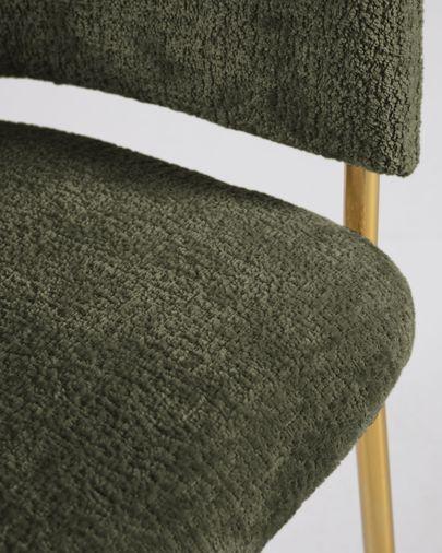 Silla Runnie de chenilla verde oscuro con patas de acero con acabado dorado