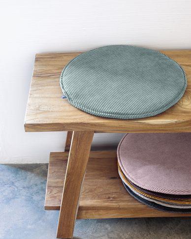 Sora round corduroy chair cushion in turquoise, 35 cm