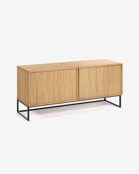 Taiana TV stand with oak veneer and steel frame with black finish 112 x 51 cm 2 drawers