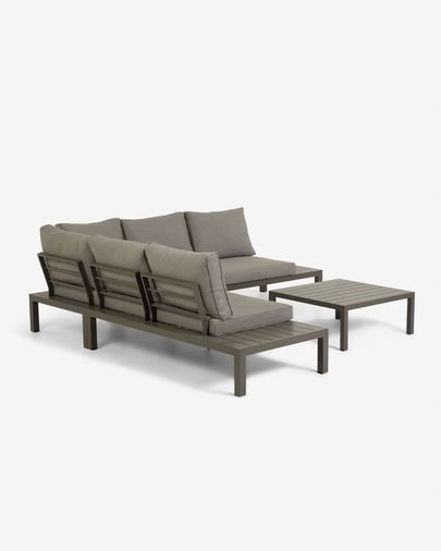 Sofá de canto modular 5 lugares e mesa Duka de alumínio castanho