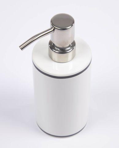 Arminda white ceramic soap dispenser with black detail