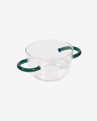 Kom Dusnela van transparant en turquoise glas