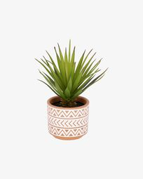 Artificial small Palm in brown and white ceramic pot