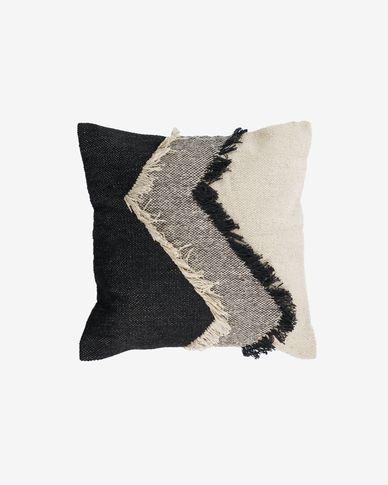 Funda cojín Margarite 100% algodón flecos negro y blanco 45 x 45 cm