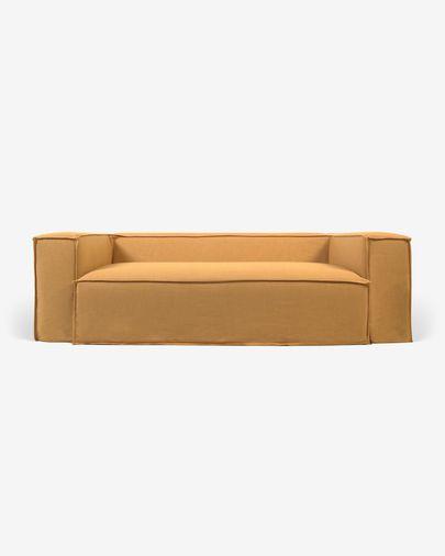 Funda para sofá Blok de 3 plazas con lino mostaza