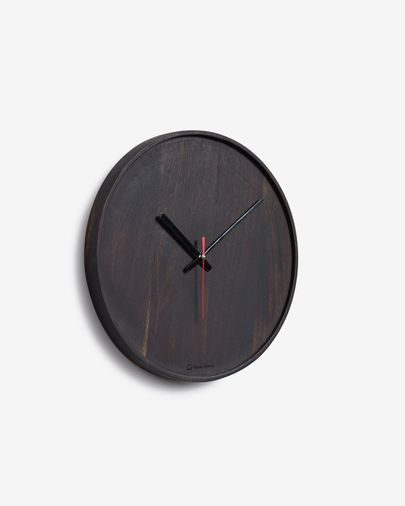 Zakie round wall clock in solid acacia wood with black finish Ø 30 cm