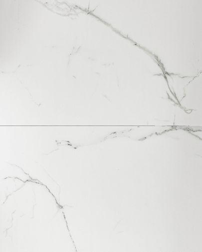 Mesa extensible Theone 160 (210) x 90 cm porcelánico patas de acero acabado negro