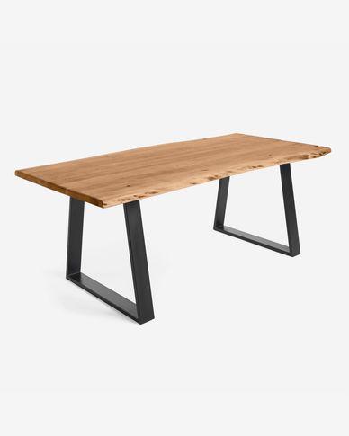 Mesa Alaia de madera maciza de acacia y patas de acero negro 200 x 95 cm