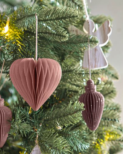 Yaril set of 3 brown Christmas baubles