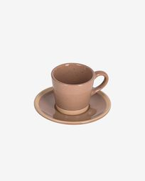 Tilla ceramic coffee cup with plate in light brown